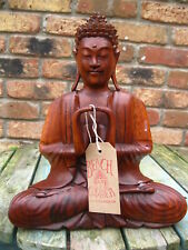 WOODEN BUDDHA STATUE Figure MEDITATING Thai PRAYING SITTING FAIRTRADE 30 cm F
