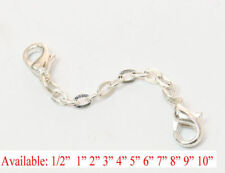 Silver plated Extender Safety  Cable link Chain Necklace Bracelet with lock