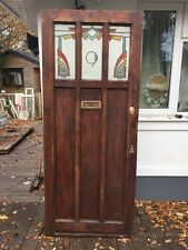 FRONT DOOR ART DECO STAINED GLASS RECLAIMED PERIOD ANTIQUE OLD WOOD 20s.30 PINE