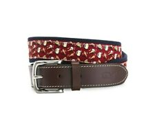 Vineyard Vines Pizza Wings & Beer Canvas Club Belt Crimson Size 30 1A2118 603