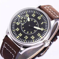 44mm Corgeut Black Dial 17 Jewels 6497 Hand Winding Movement men's Wristwatches