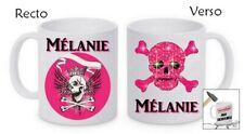 Mug (tasse) incassable Tête de mort rose fille personnalisé avec prénom