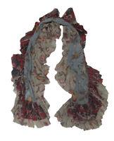 RL Ralph Lauren Purple Label Womens Floral Cotton Knit Ruffled Scarf New
