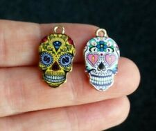 Pack of 2 Enamel Day of the Dead Sugar Skull Pendant Charms 22mm