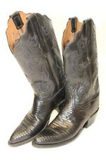 Lucchese 2000 Womens 7 B Black Leather & Lizard Western Cowboy Boots 20862 pv