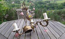 Vintage ceramic brass chandelier 3 tier Capodimonte pink roses