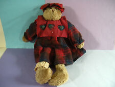 Boyds Bears Ltd 1990 Bear w/Plaid Dress & Bow