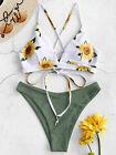 ZAFUL Two-Piece Sunflower Print Lace-up Crisscross Bikini Set High Cut for Women