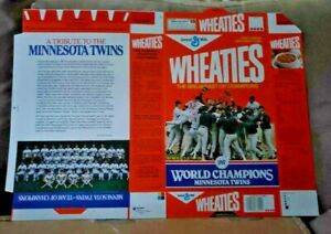Minnesota Twins 1987 World Series Champs Wheaties Flat Cereal Box