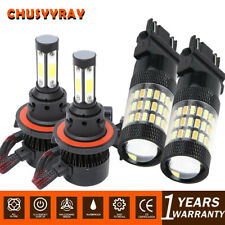4PCS LED Headlight+60SMD Switchback Signal Light Bulbs For 2005-2016 F-250 F-350