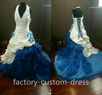 Victorian Gothic White and Blue Wedding Dresses Satin Formal Bridal Gown Custom