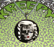 MARILYN MONROE PENDANT NECKLACE ROCKABILLY SILVER PLATED