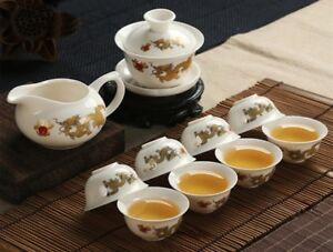 Chinese Tea Pot Golden Dragon Milky White Jade Ceramic Kung Fu Tea Set Cup Bone