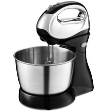 200W Stand Mixer Hand Mixer 5-Speed w/Dough Hooks & Beaters Stainless Steel Bowl
