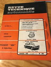 REVUE TECHNIQUE ETAI N°285 PEUGEOT 504  injection