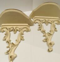 Vintage Syroco Wood Wall Sconces Set Of Two French Provincial White With Gold