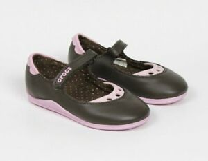 Crocs Mackenzie Mary Jane Brown Pink Girls Toddler Shoes Size C7