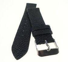 20mm Black Stingray Skin Leather Watch Strap Band Handmade  ST2001