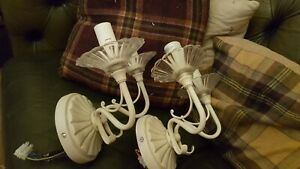 Laura Ashley Madley shabby chic ornate two arm Wall Lights cream metal and glass