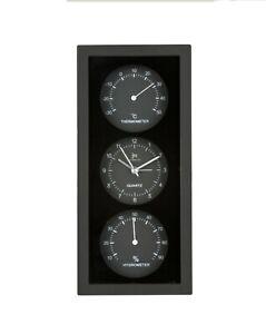 Lowell - Orologio Sveglia e Termo-Igrometro da parete e da tavolo NERO