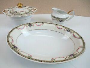 """Vintage EAMAG Bavaria SCHONWALD (EAM3) Oval 10"""" Vegetable Bowl, Sugar & Creamer"""