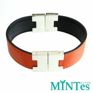 Auth Hermes Leather Bangle Orange Black Black Leather Lurie Bracelet Reversible