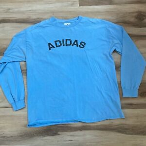 Adidas Mens Large T Shirt Light Blue Long Sleeve