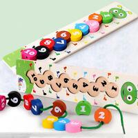 Montessori Steckspiel & Fädelspiel spielzeug mit 1-10 Zahlen Holzperlen