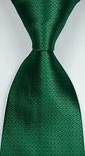 New Classic Pattern Solid Dark Green JACQUARD WOVEN Silk Men's Tie Necktie