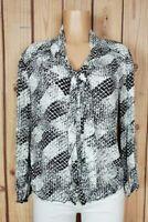 MAX STUDIO MSSP Womens Size Medium Long Sleeve Shirt Button Down Geo Viscose Top