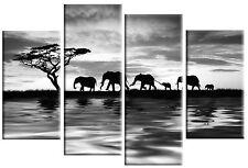 Elefanti tramonto in acqua Grigio Foto su Tela Arte Muro Pannello diviso Multi 4 100cm