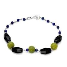 New 11.40 CTW Agate Lapis Lazuli & Onyx Bead 925 Sterling Silver Chain Bracelet