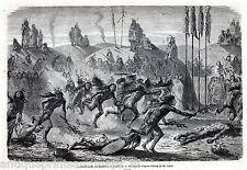 Antique print Mandan indian Tribe / dance indians / North Dakota 1869 holzstich