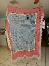 "HUGE vtg CROCHET 84"" x 84"" HANDMADE Afghan Throw BLANKET Wool Pink Blue White"
