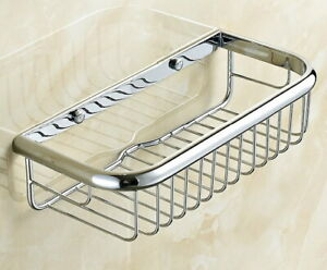 New Chrome Wall Mounted Bathroom Shower Caddy Wire Basket Storage Shelves fba513