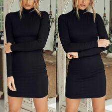 Womens Black High Neck Long Sleeve Bodycon Dress Casual Mini Dresses Clubwear