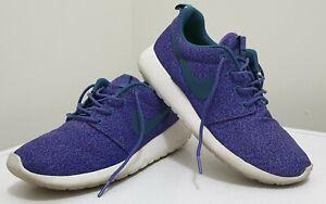 NIKE Women Shoes Roshe Run Print US7 UK4.5 EUR38 Purple/Rift Blue Pre-owned