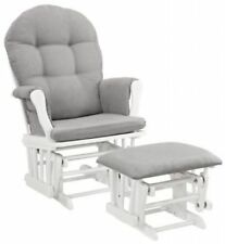 Glider Ottoman Furniture Nursery Chair Baby Rocking Set White with Gray Cushion