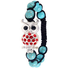 Lady Silver Bling Crystal Womens Turquoise Bead Owl Bangle Wrist Bracelet Chain