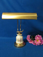 RARE BRASS WITH PORCELAIN BASE ADJUSTABLE  STUDENT BANKERS PIANO DESK LAMP 17""
