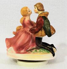 Vtg Sankyo Japan Music Box Figurine PRINCE & PRINCESS KISS Plays A TIME FOR US