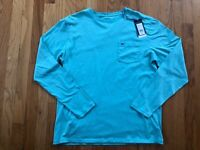 NWT Men's Vineyard Vines LS Overdyed Capri Blue Whale Pocket T-Shirt Size Medium