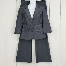 THE LIMITED sz Small 6 Women's Career Blue Belted 2 Piece Pant Suit 3/4 Sleeves