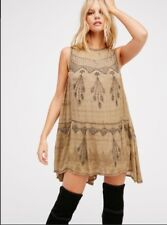 Free People Delilah Mini Dress Sz S Beaded Embellished Swing Tunic