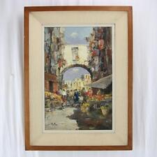 """A Elettro (ITALIAN, c1900) """"Italian Market"""" Oil on Canvas Mid-Century Painting"""