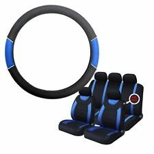 Blue & Black Steering Wheel & Seat Cover set for Dodge Ram All Years