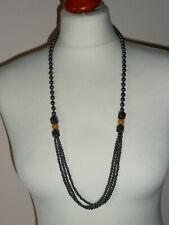 Designer Collier ~ lange Kette Halskette ~ schwarz Hämatit Perlenkette