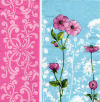 4 lose Motivservietten Servietten Napkins Tovaglioli Blüten Blumen Pink (856)