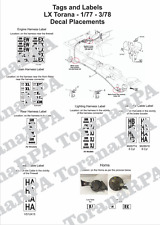 Decal Set, Loom Tags and Horns for LX Torana 1/77 - 3/78