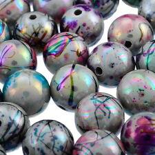 100 Mixte Perles Acrylique Rond Pour Bracelet Collier Bijoux Couleur AB 12mm Dia